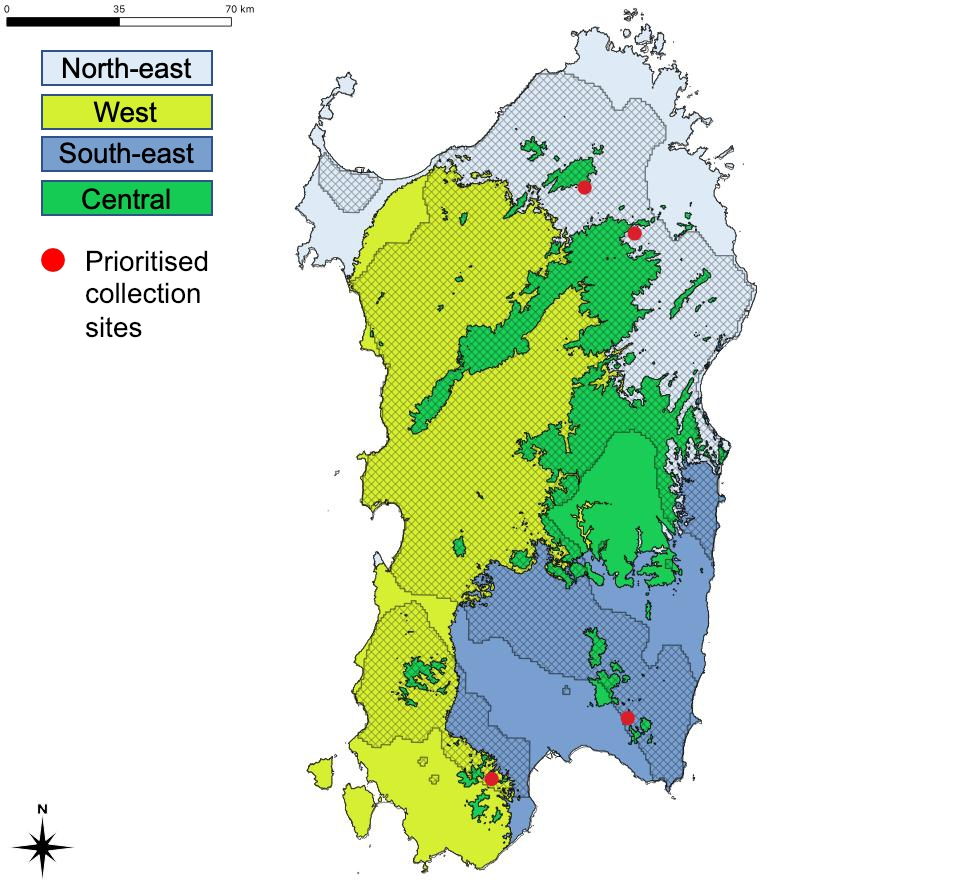 The regions of provenance and seed collection zones  of Q. suber in Sardinia