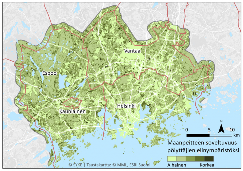 Figure 1. Suitability of the land types for pollinators, i.e. pollination potential map of the Helsinki Metropolitan Area.