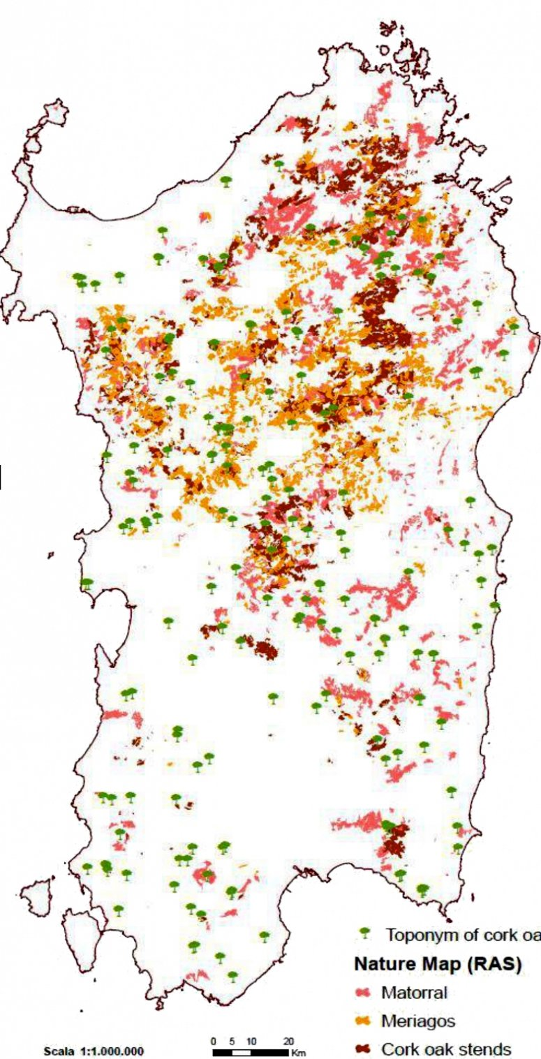 Distribution of cork oak in Sardinia compared with distribution of main phytotoponims related to Q. suber.