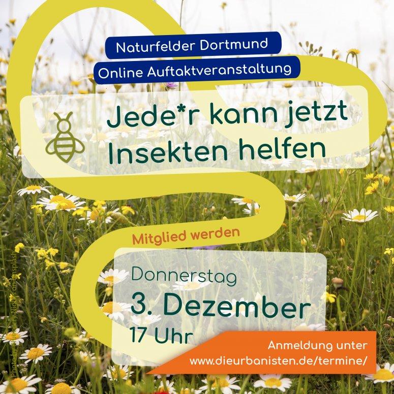 Invitation for the first online information meeting for Naturfelder Dortmund e.V.