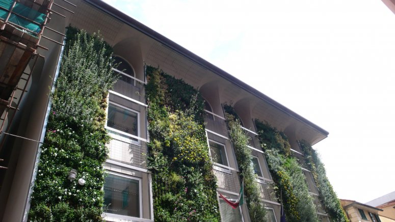INPS (National Institute  Social Insurance) Green Facade - Genoa neighborhood of Sestri Ponente