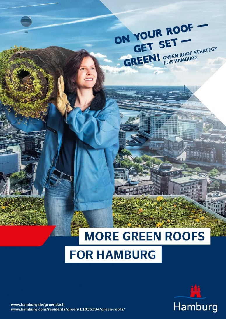 Green roof Strategy Hamburg - On your roofs, get set, green! (Photo and montage: © mount. Design und Kommunikation für soziales Wachstum; background photo: Michaela Stalte)