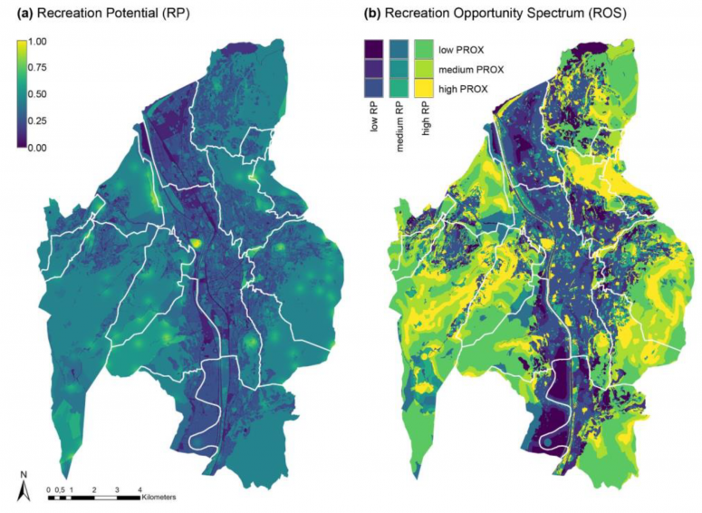Maps of Recreation Potential (RP) and Recreation Opportunity Spectrum (ROS) in the city of Trento.