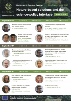ReNature Training Course: Nature-based solutions and the science-policy interface