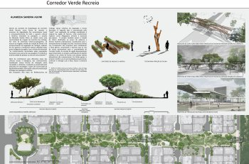 Partial view of the awarded project — the green street with restinga landscape design and ecological features to connect people and biodiversity.