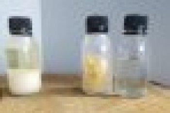Left: resin; center: rosin; right: turpentine oil