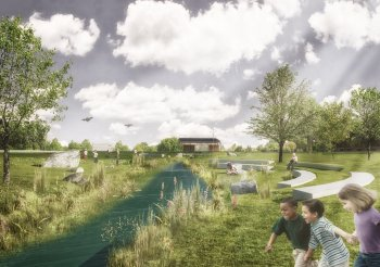 Artist view of the future renaturalised river