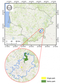 Location of the two UrbanGaia case studies in Vilnius