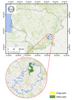 Location of the two UrbanGaia case studies in Vilnius